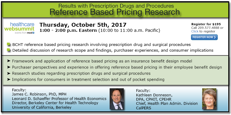 Reference Based Pricing Research - Results With Prescription Drugs and Procedures