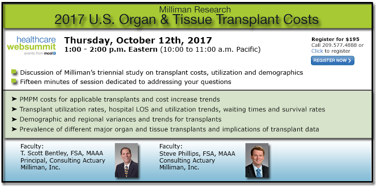 Milliman Research: 2017 U.S. Organ and Tissue Transplant Costs