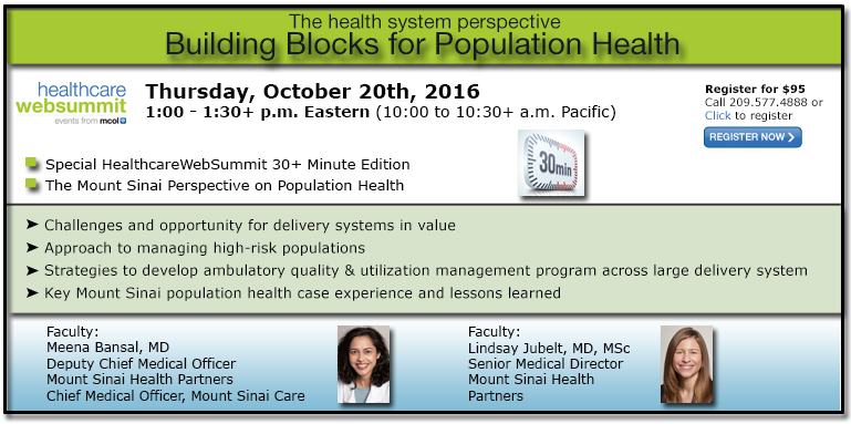 Building Blocks for Population Health: The health system perspective